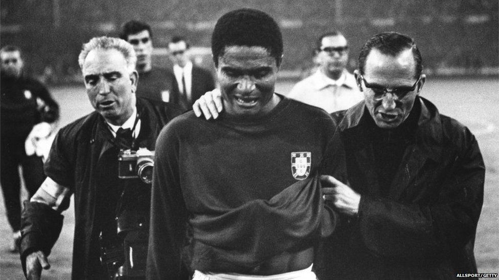 Eusebio leaves the pitch in tears after England beat his team 2-1 in the World Cup semi-finals at Wembley in 1966