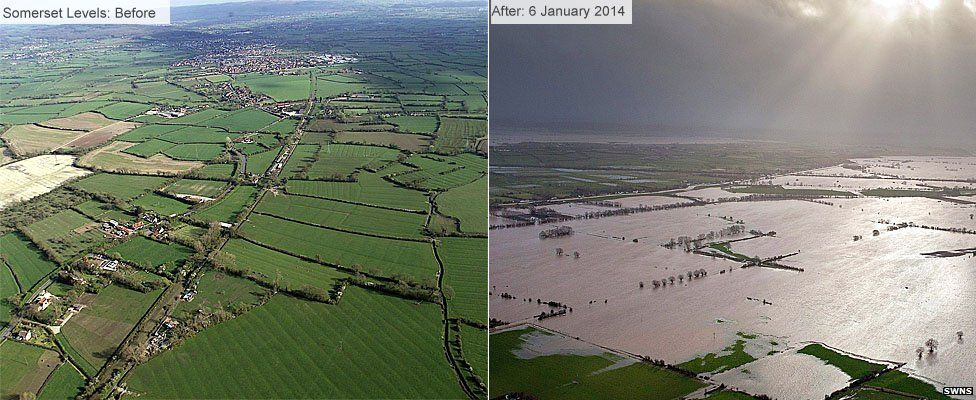 Somerset levels before and after the storms brought floodwaters.