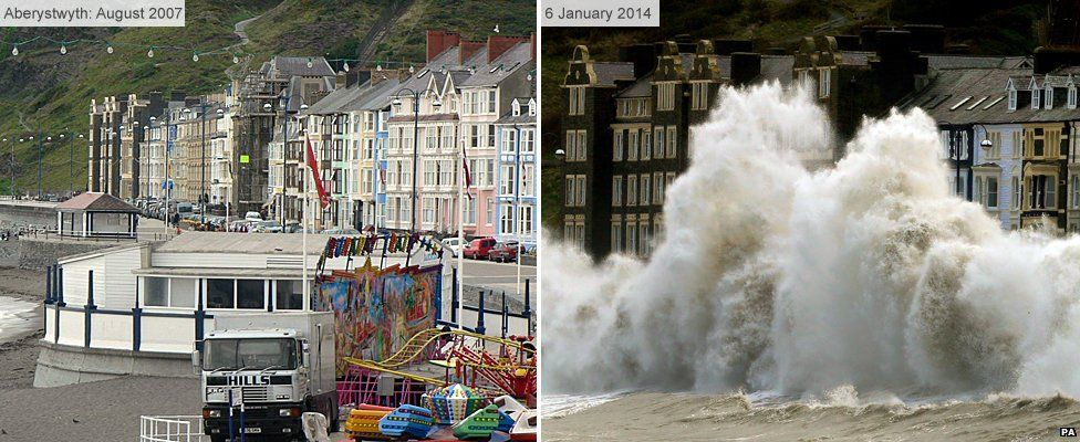 Aberystwyth seafront before and after storm