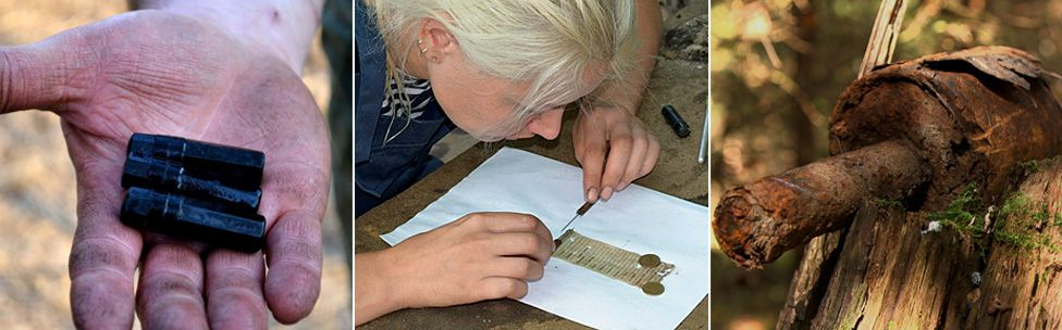 Found objects: An ID tag, a volunteer deciphers writing on ID paper - and a grenade