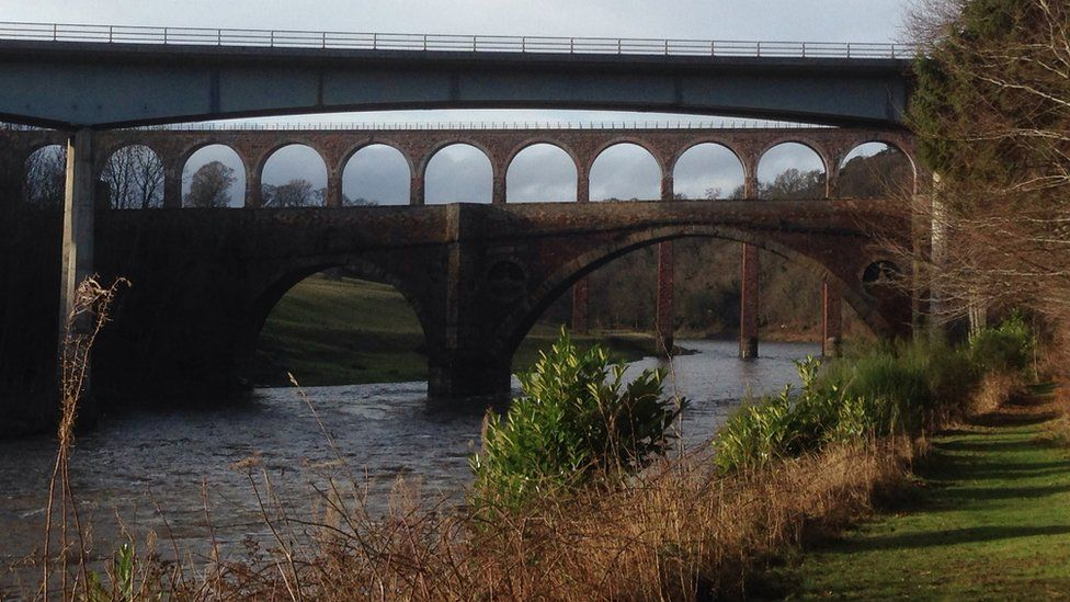 Three bridges cross the River Tweed