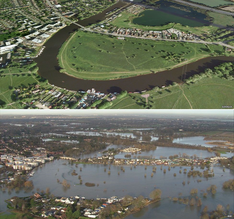 Chertsey, Surrey, before and after the floods