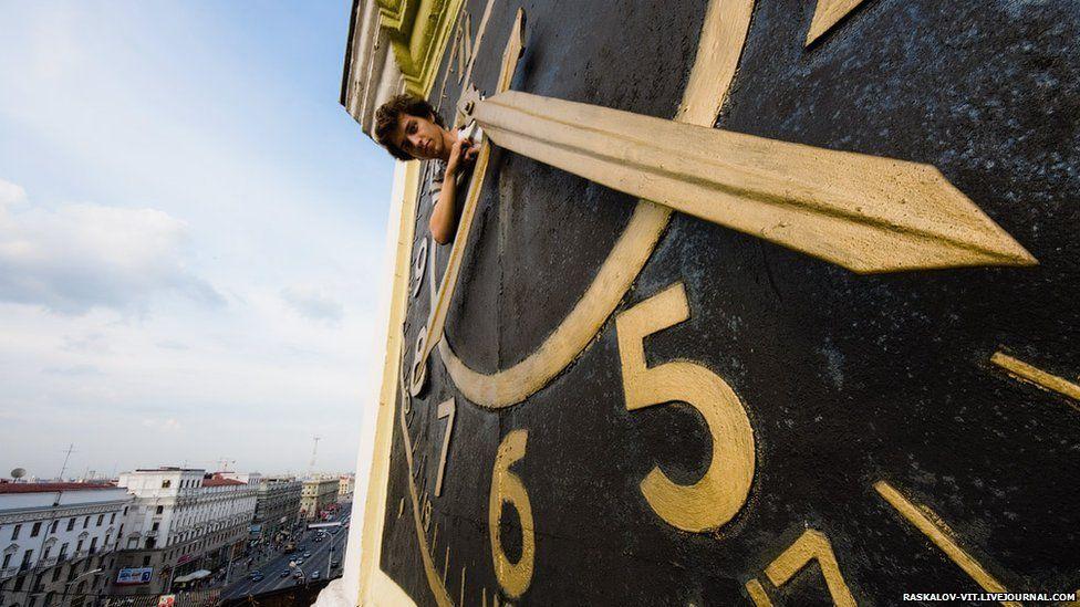 Man in clock tower
