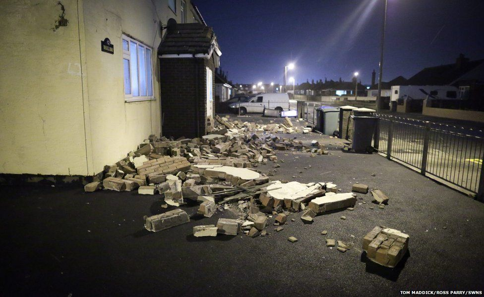 Damage to a block of flats after high winds in Blackpool
