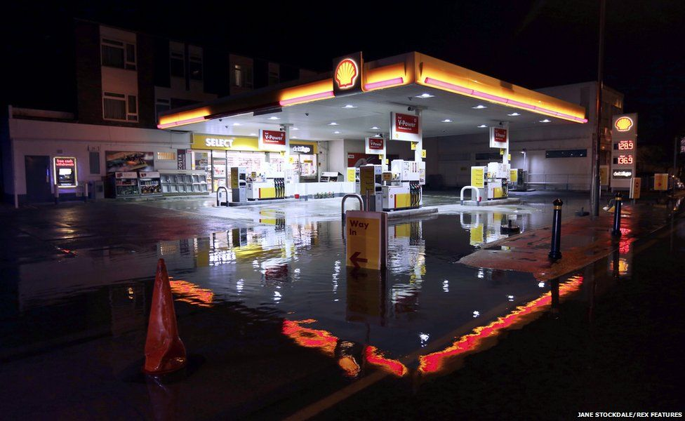 A flooded petrol station in Staines