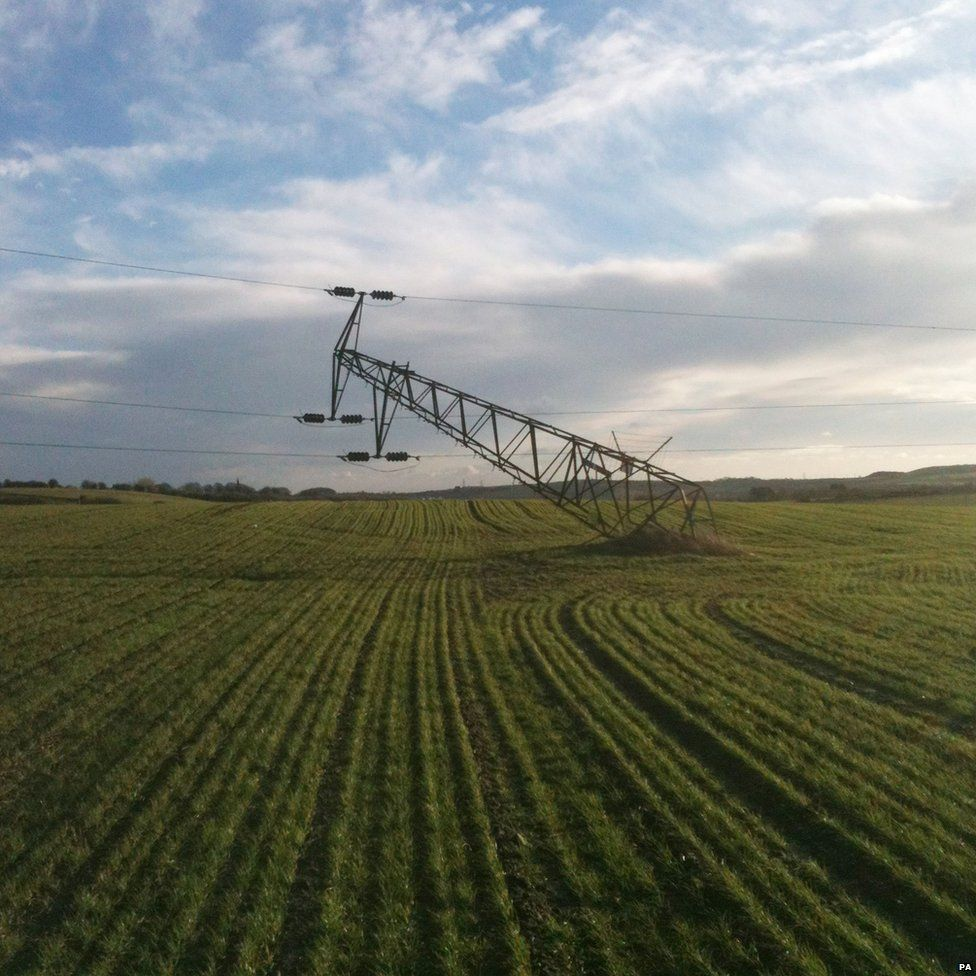 Damaged pylon, caused by severe winds overnight, just south of Houghton le Spring, Tyne and Wear.