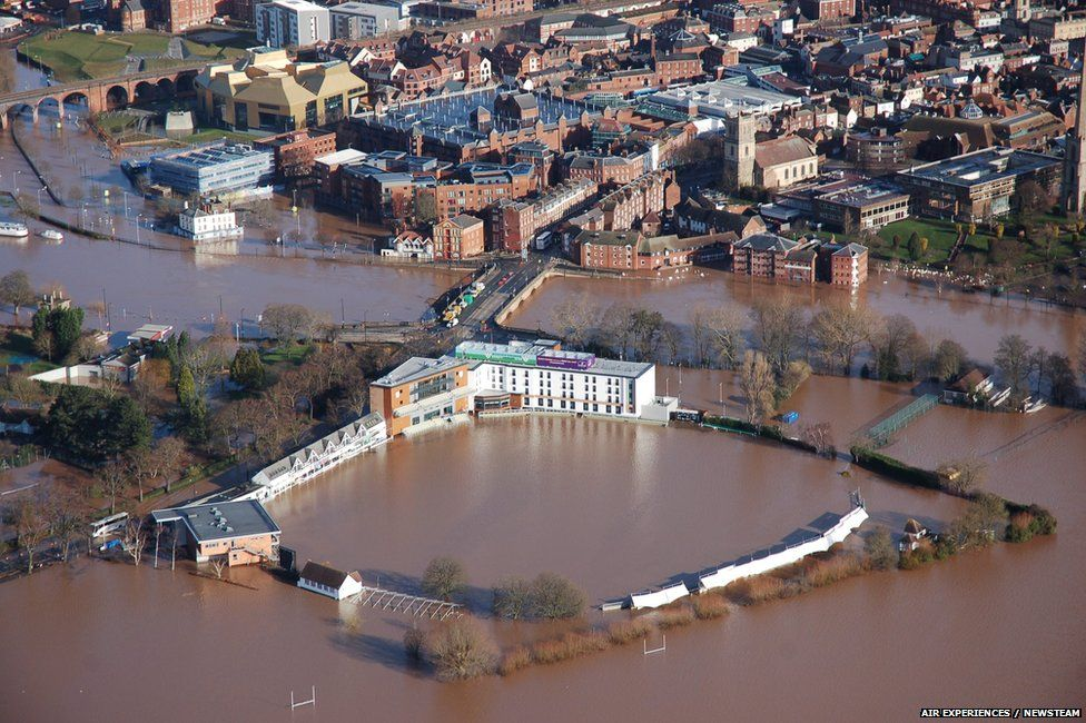 A flooded New Road, home of Worcestershire County Cricket Club