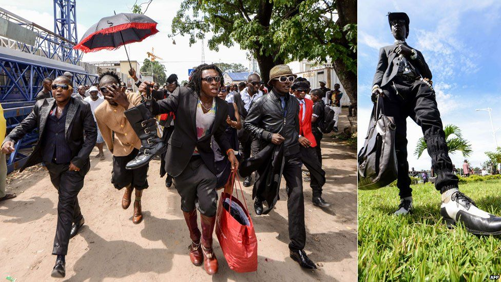 L: Sapeurs walking in Kinshasa R: A suited sapeur poses with his bag in Kinshasa, DR Congo - Monday 10 February 2014