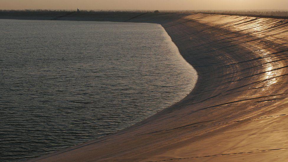 Southern Besor reservoir in Israel