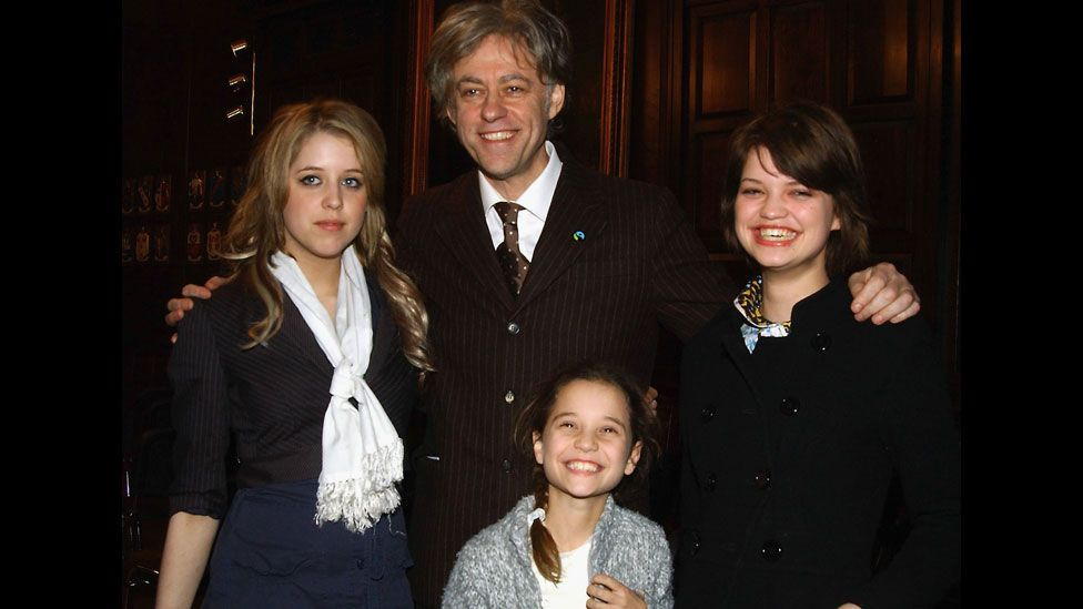 Peaches Geldof with Bob Geldof, Pixie Geldof (right) and Tiger Lily Hutchence Geldof (front)
