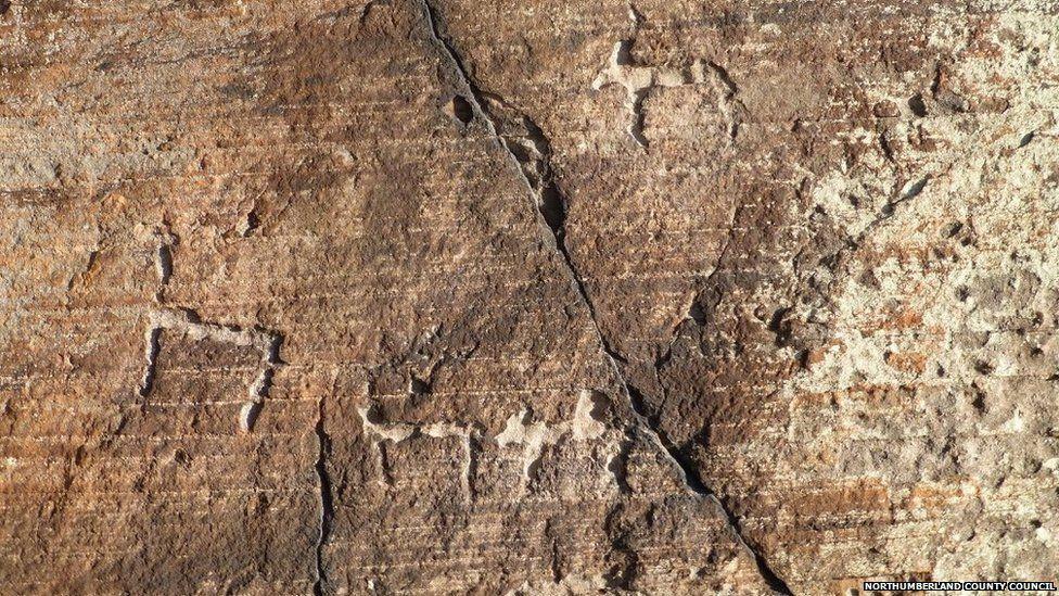 Carving of goats or deer at Goatscrag rock shelter, Northumberland