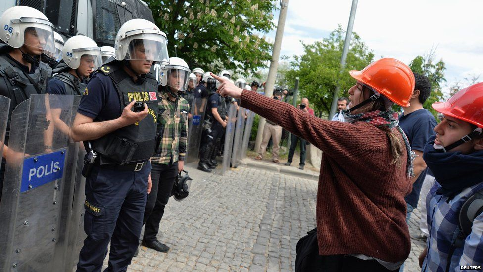 Demonstrators argue with riot police as they demonstrate to blame the ruling AK Party (AKP) government on the mining disaster in western Turkey, in Ankara May 14