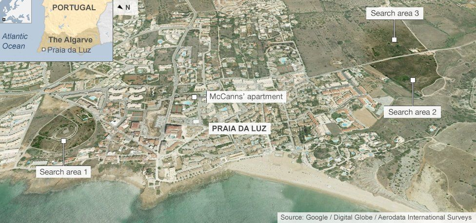 Map showing the latest police search area in the hunt for Madeleine McCann