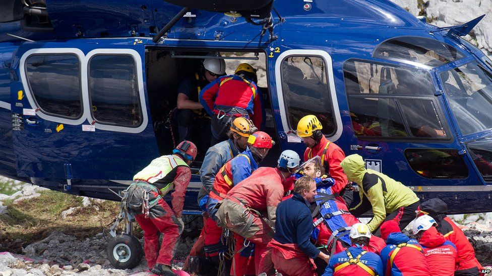 Helicopter takes caver to hospital. 19 June 2014