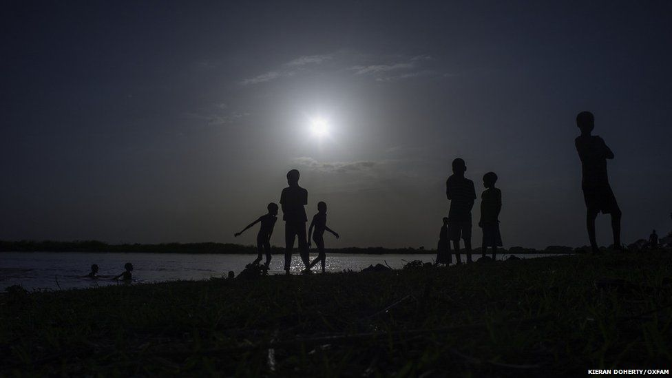 Children play by the River Nile in Melut, Upper Nile State, South Sudan
