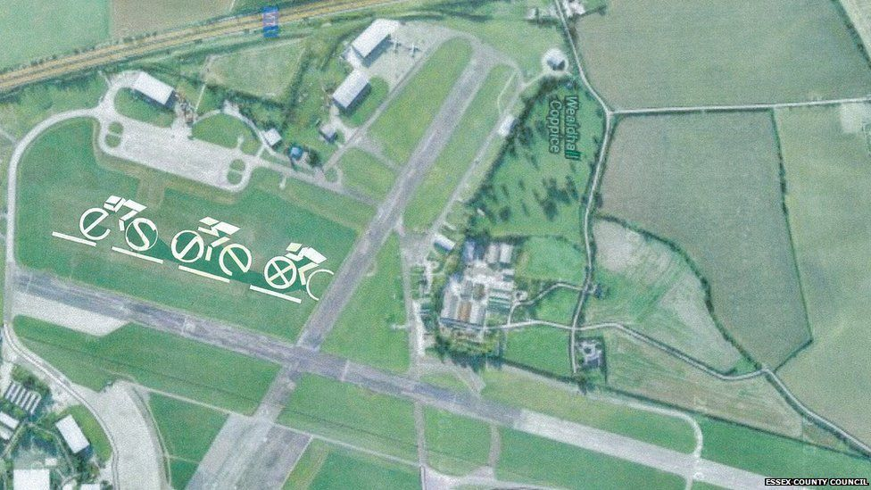 The 'meadow art' at North Weald 'has been carefully chosen so it can be seen from the air', says Essex County Council