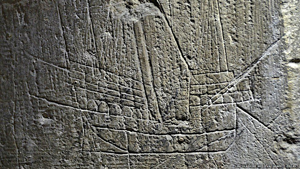 Picture of a ship found at a church in Bassingham