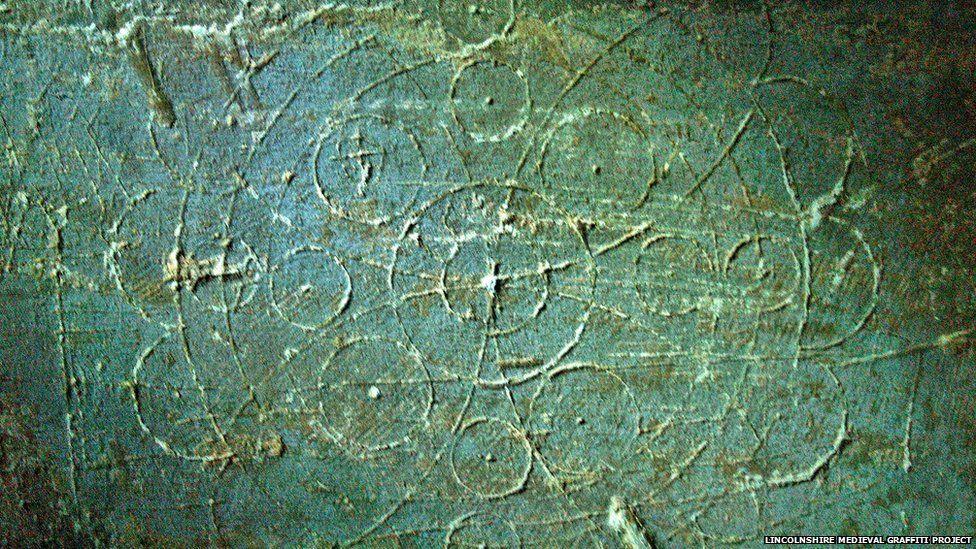 Circles drawn on a wall inside a medieval church