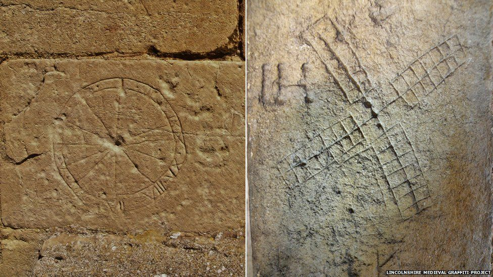 Medieval pictures of a sundial and windmill