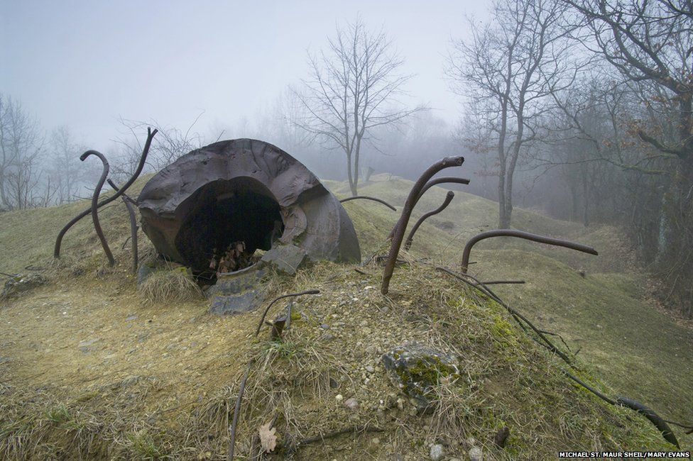 Destroyed observation post at the Ouvrage de Thiaumont