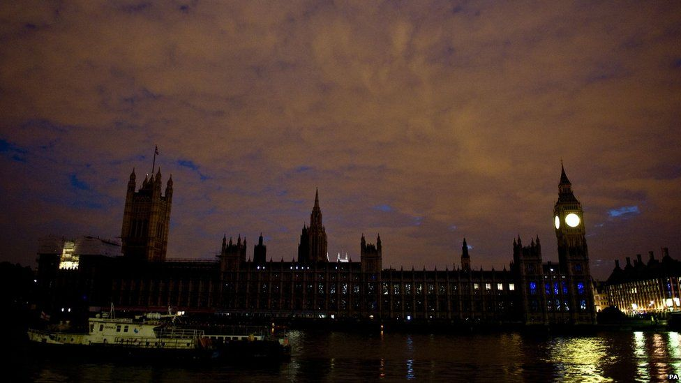 Lights switched off at the Houses of Parliament