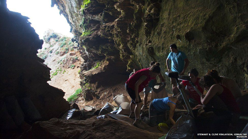 Excavation in Gorham's Cave