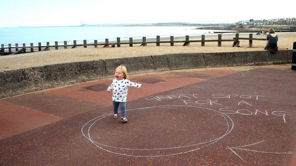 Girl on Portobello beach