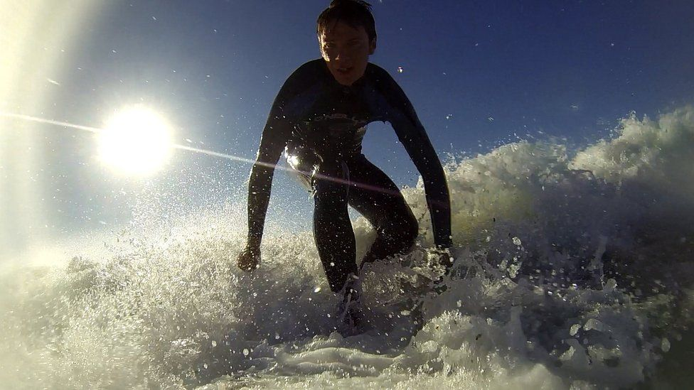 James Williams surfing