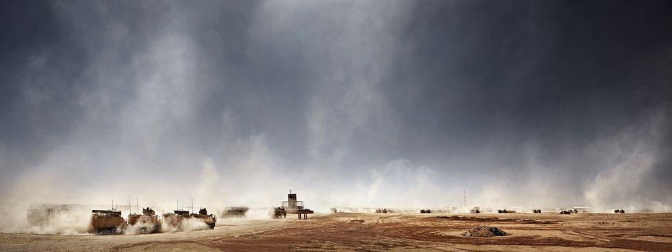 Vehicles in the Afghan desert