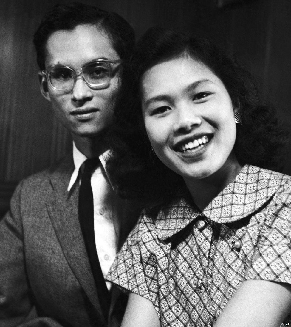 King Bhumibol Adulyadej of Thailand and his fiance, Princess Sirikit in Lausanne, Switzerland in September 1949 having announced their engagement