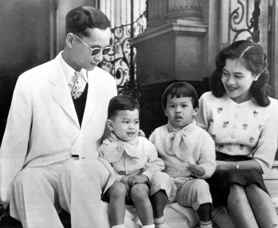 The Royal family of Thailand poses for a photograph on the steps of Bangkok's Chitralda Palace in 1955