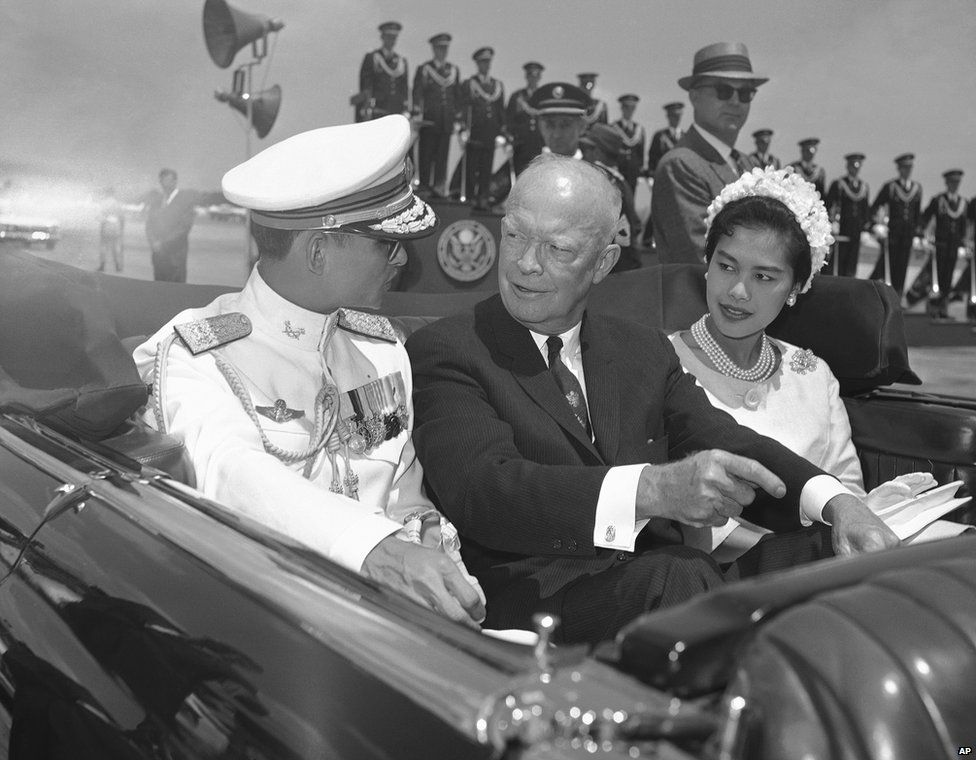 President Dwight Eisenhower with King Bhumibol and his wife in 1960