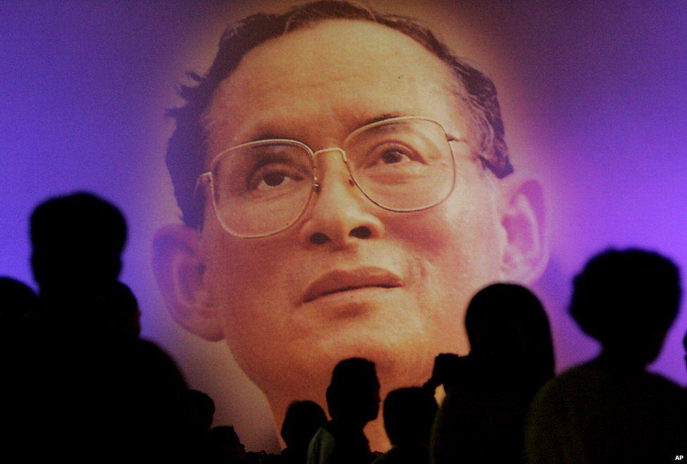 An Image of Thai King Bhumibol Adulyadej shown on a giant projector
