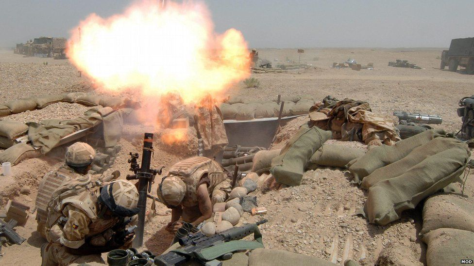 British troops fire a mortar during Operation Silicon, the ISAF mission in 2007, against the Taliban in the southern part of Helmand