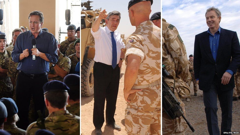 Prime ministers visiting troops at Camp Bastion: David Cameron in 2014, Gordon Brown in 2009, Tony Blair in 2006