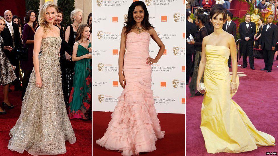Cameron Diaz, Frieda Pinto and Penelope Cruz on the red carpet in Oscar de la Renta gowns