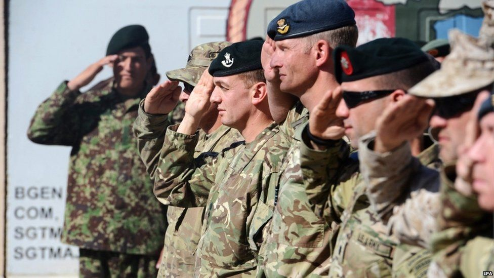 British troops lined up saluting