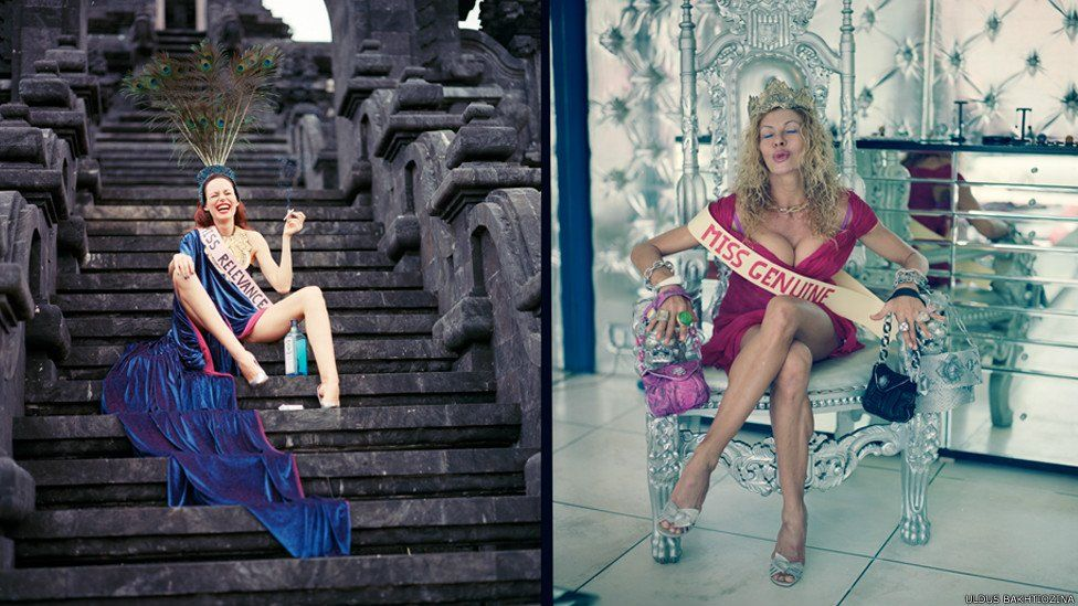 Women in ball gowns, one with 'Miss Relevance' as a sash and the other with 'Miss Genuine'