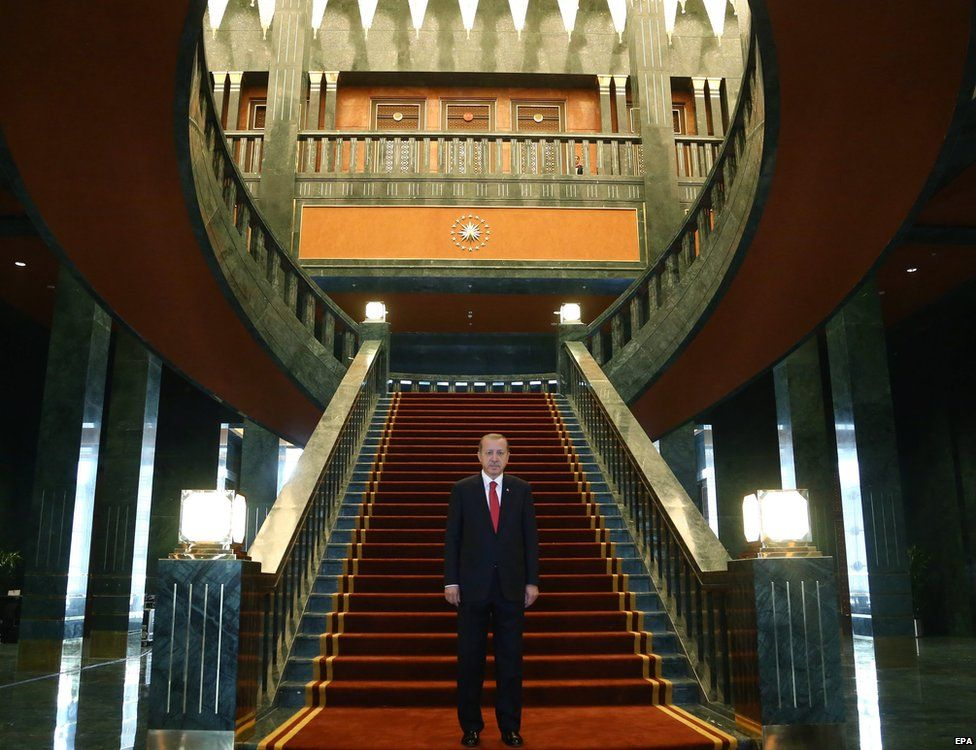The Turkish President, Recep Tayyip Erdogan, pictured at the foot of a staircase at the Ak Saray residence