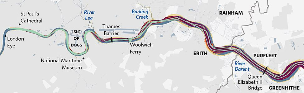 Nautical traffic on River Thames and estuary in 24 hours (12 Apr 2014) (source: fleetmon.com, OS)