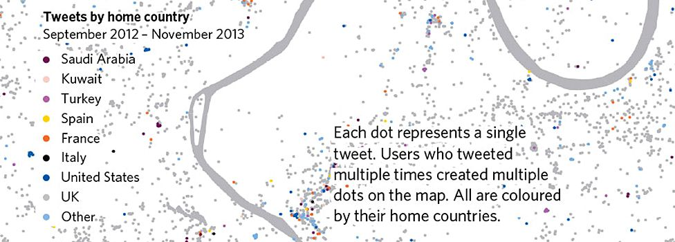Tweets by home country (Sept 2012 - Nov 2013) (source: Alistair Leak and Muhammad Adnan from UCL London, Twitter)