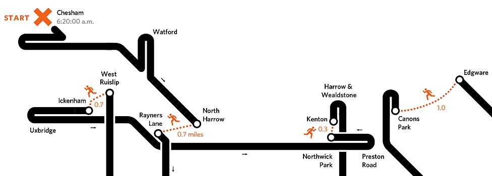 Tube challenge map (excerpt) (source: Art on the Underground, Transport for London)