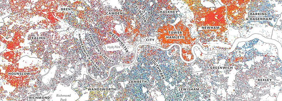 Self-reported ethnicity, London (source: 2011 Census, ONS)