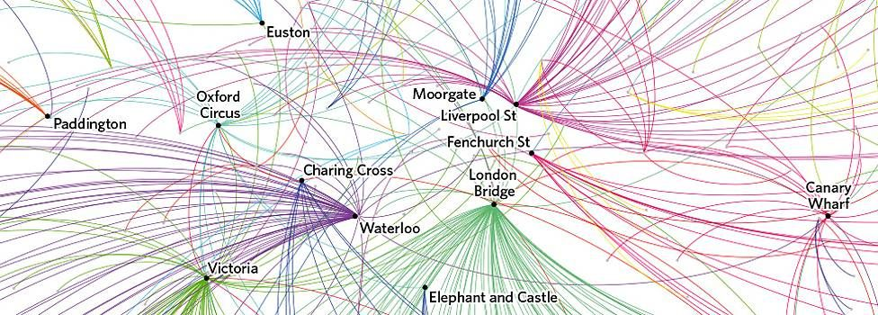 Most-exited rail stations by origin location, 7-10 am (Jul/Aug 2012) (source: Transport for London)