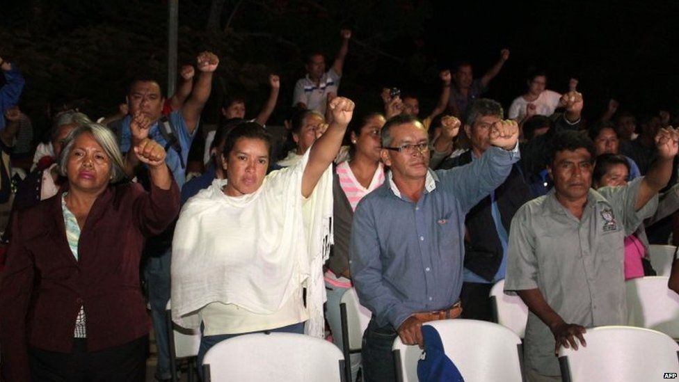 Parents and relatives of the 43 Mexican missing students attend a press conference in Ayotzinapa on 12 November, 2014