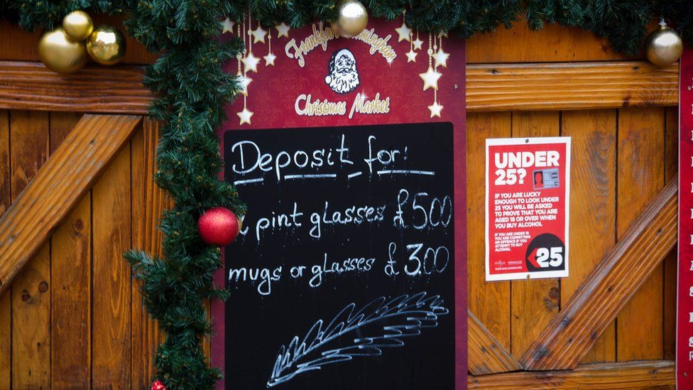 A sign showing glass hire prices at Birmingham's Christmas Market