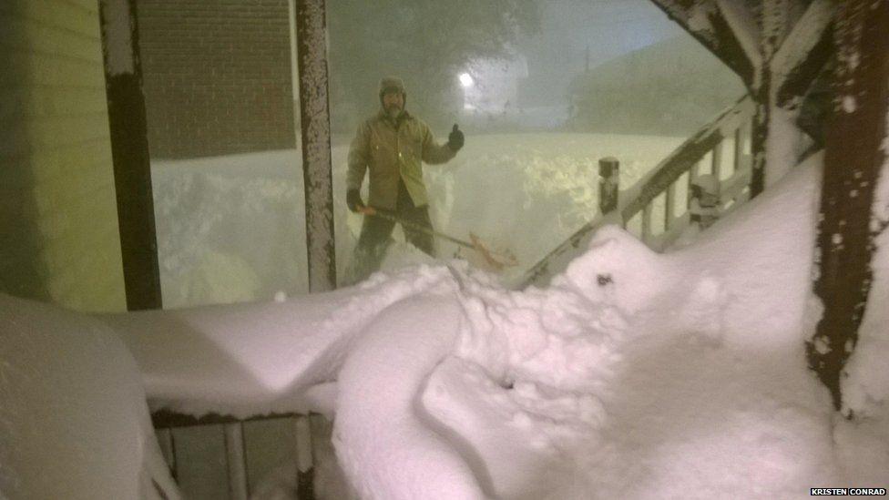 Dennis Conrad clearing snow in Buffalo city (November 2014)