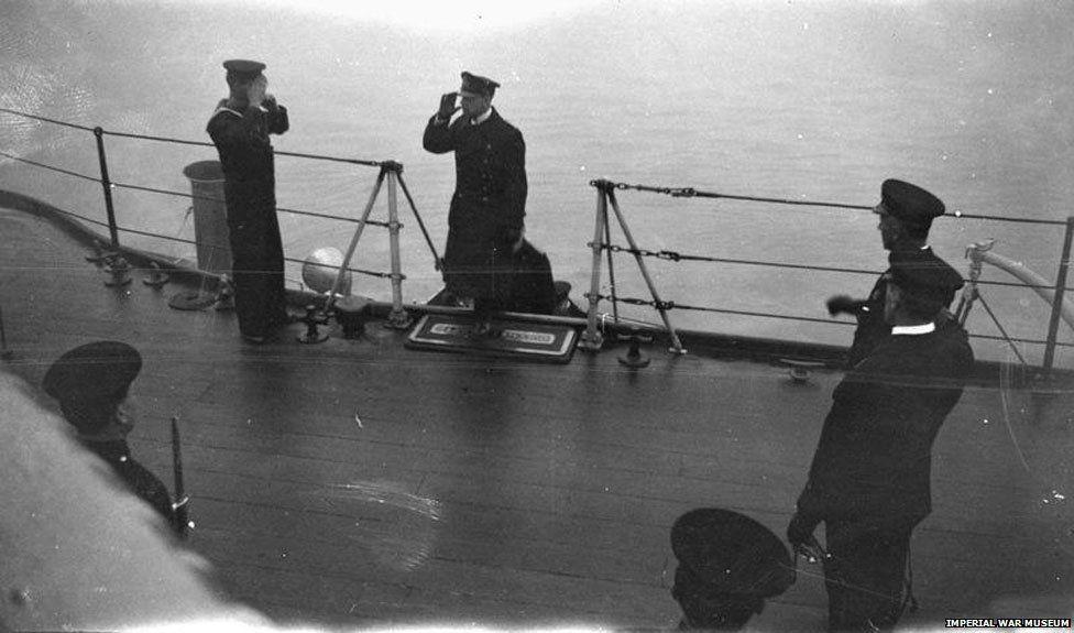 German delegation arrive on board HMS Queen Elizabeth flagship.