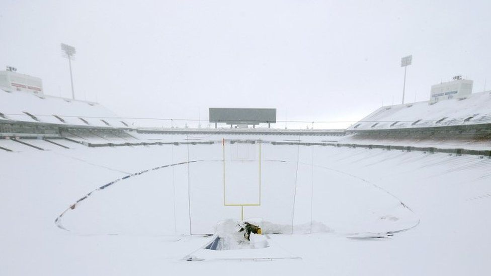 The scene in a football stadium in New York State after the snowfall