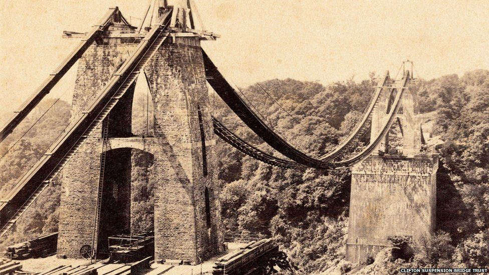Clifton Suspension Bridge under construction